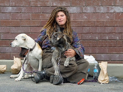 Homeless woman with dogs. Photo by Franco Folini.jpg